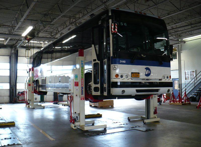 Motor Coach on Heavy Duty Lift