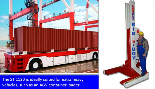 The Stertil-Koni ST 1130 mobile column lift, with a capacity of 29,000 lbs. per column.